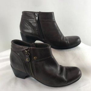 Clarks Chocolate Brown Leather Bootie